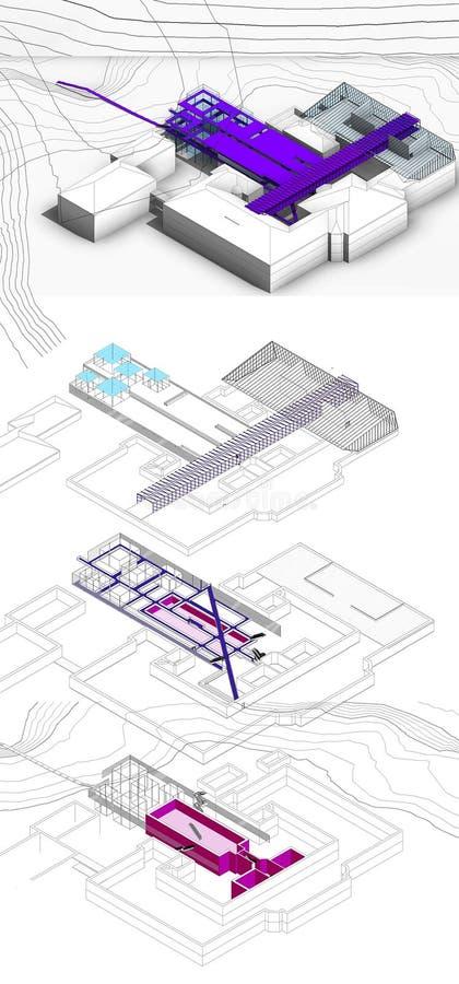 Entwurf des Museums in der nationalen Akademie der schöner Kunst und der Architektur (Konzeptprojekt) lizenzfreie stockfotografie