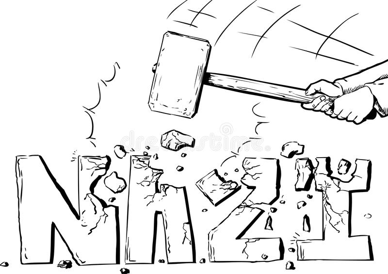 Entwurf des Vorschlaghammers die Wort Nazi zerstörend stock abbildung