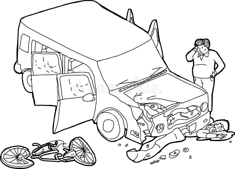 Entwurf Des Zerschmetterten Autos Und Des Radfahrers Stock Abbildung ...