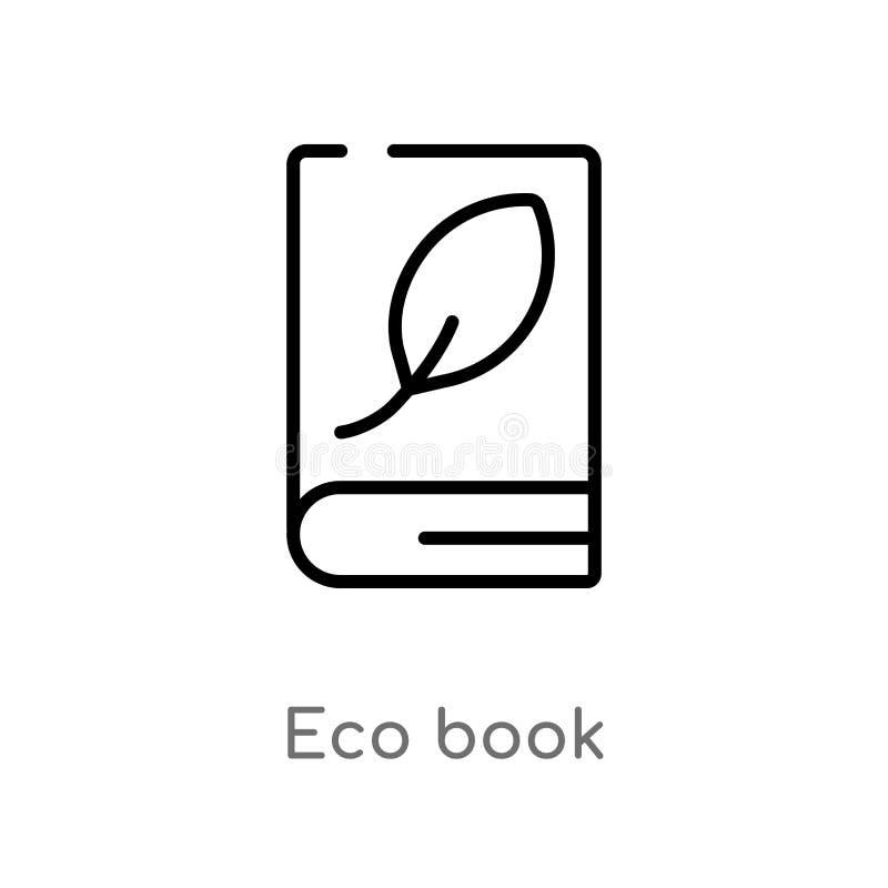 Entwurf eco Buch-Vektorikone lokalisiertes schwarzes einfaches Linienelementillustration vom Ausbildungskonzept editable Vektoran vektor abbildung