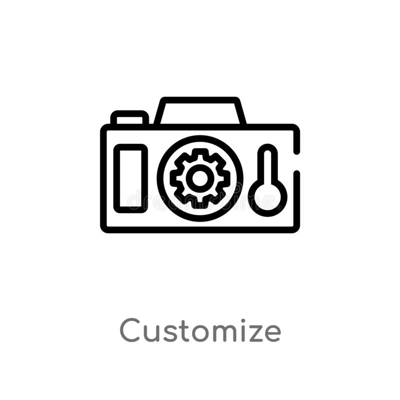 Entwurf fertigen Vektorikone besonders an lokalisiertes schwarzes einfaches Linienelementillustration vom Technologiekonzept Edit vektor abbildung
