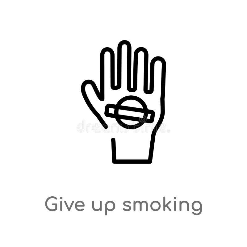 Entwurf geben oben rauchende Vektorikone lokalisiertes schwarzes einfaches Linienelementillustration vom Gestenkonzept Editable V stock abbildung