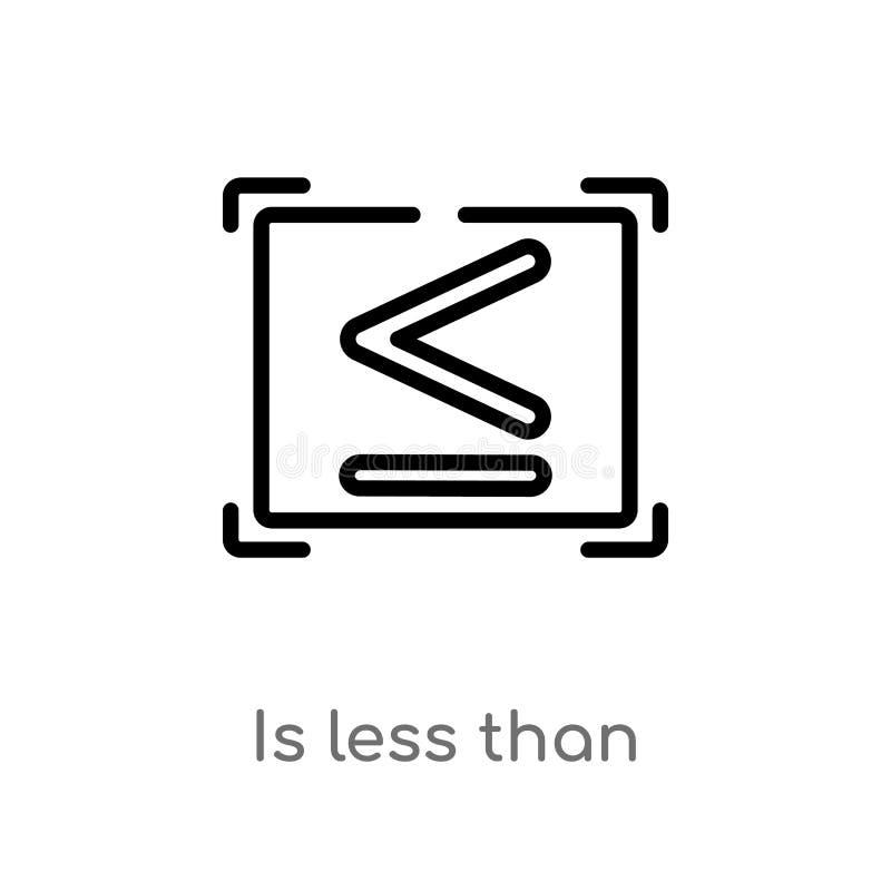 Entwurf ist weniger als Vektorikone lokalisiertes schwarzes einfaches Linienelementillustration vom Zeichenkonzept r lizenzfreie abbildung
