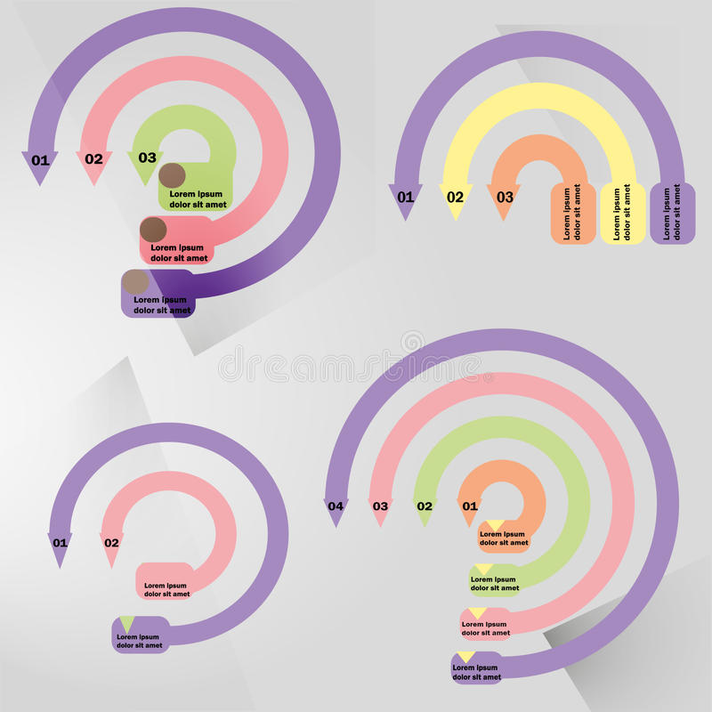 Entwurf kreisförmigesinfographic mit zentralem Element Diagramm, Diagramm, Entwurf, Diagramm mit 5, 6 Schritte, Wahlen, Teile, Pr lizenzfreie abbildung