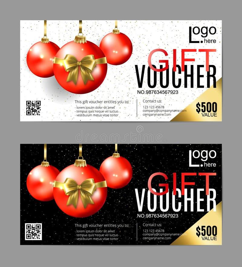 Entwurf mit zwei Geschenkgutscheinen mit dekorativen Weihnachtsverzierungen in der unterschiedlichen Farbwahl stock abbildung