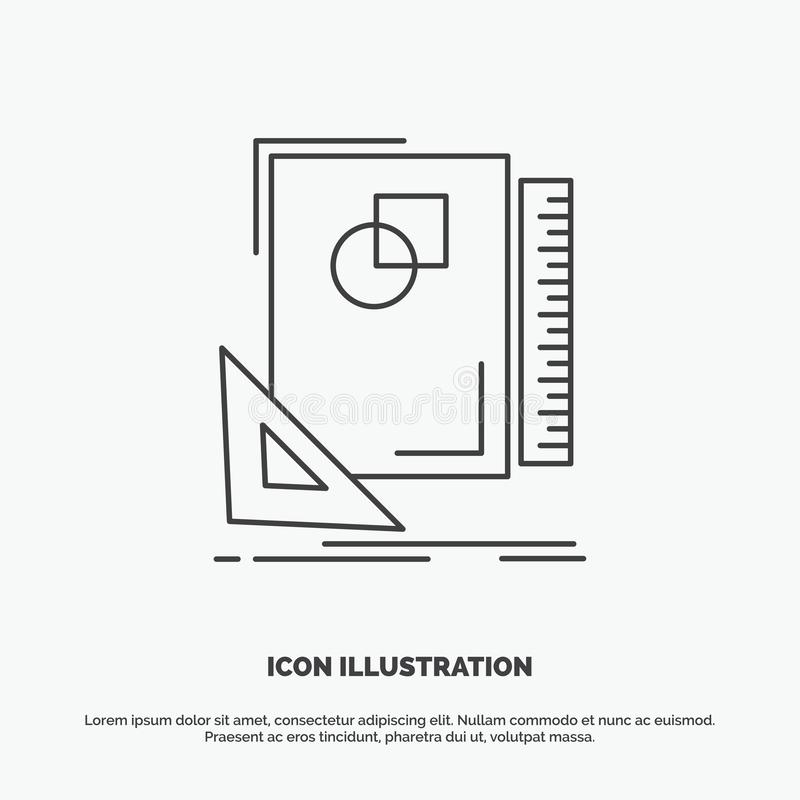 Entwurf, Plan, Seite, Skizze, Ikone skizzierend r vektor abbildung
