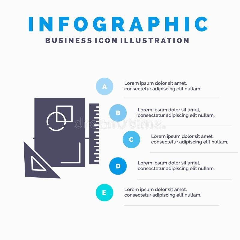 Entwurf, Plan, Seite, Skizze, Infographics-Schablone f?r Website und Darstellung skizzierend Graue Ikone des GLyph mit blauem inf stock abbildung