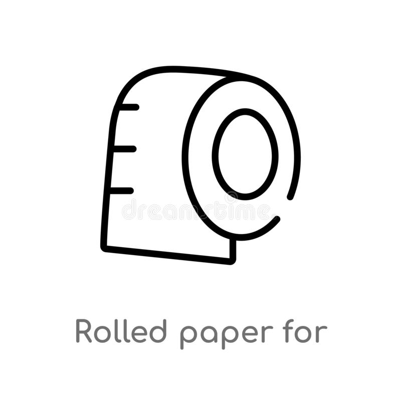 Entwurf rollte Papier f?r Badezimmervektorikone lokalisiertes schwarzes einfaches Linienelementillustration vom medizinischen Kon vektor abbildung