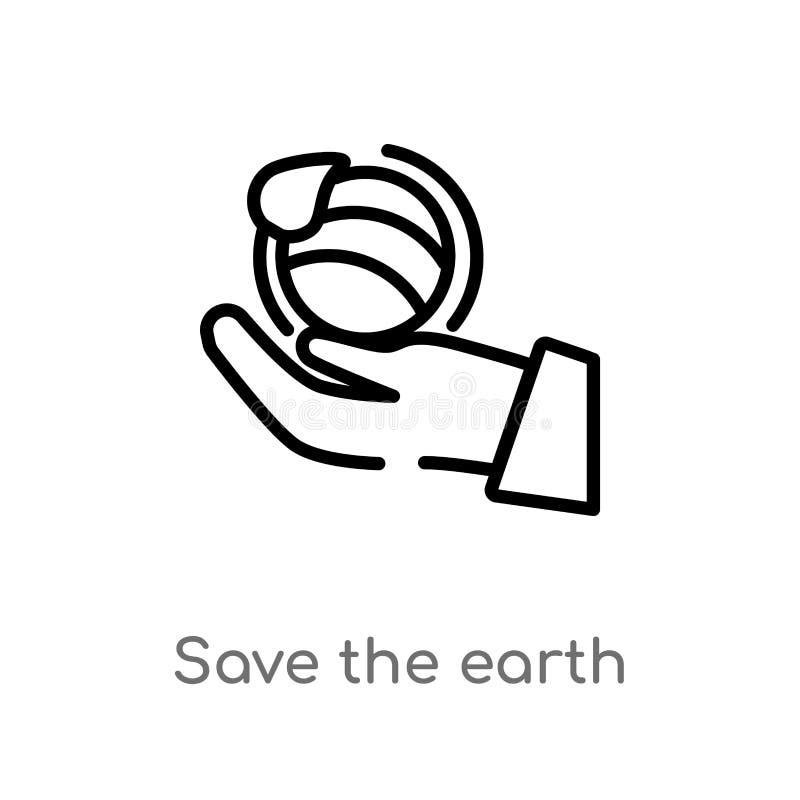 Entwurf speichern die Erdvektorikone lokalisiertes schwarzes einfaches Linienelementillustration vom ?kologiekonzept Editable Vek stock abbildung