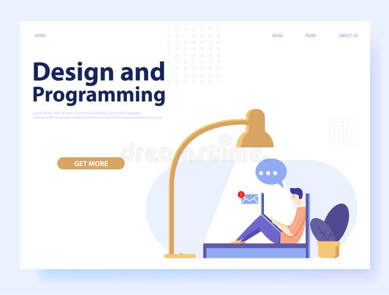 Entwurf und Programmierungskonzept für Website und Mobile Webseite Vektor vektor abbildung