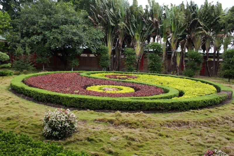 Entwurf und Yin Yang-Muster chinesische Art der Dekoration im Garten arbeitendes von Tian Tan Garden in Tiantan-Tempel an Shantou lizenzfreie stockbilder
