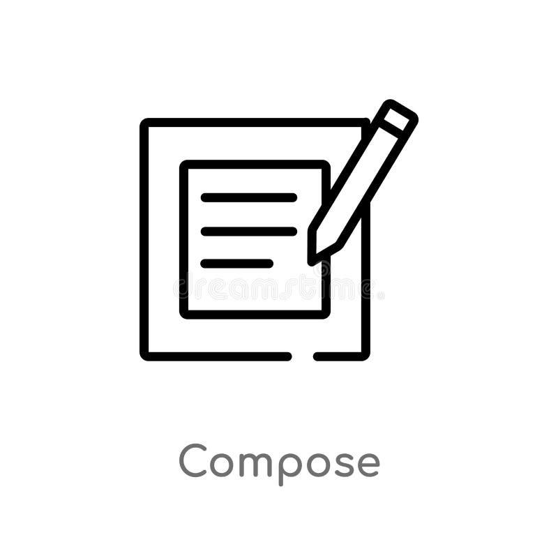 Entwurf verfassen Vektorikone lokalisiertes schwarzes einfaches Linienelementillustration vom Benutzerschnittstellenkonzept Edita lizenzfreie abbildung