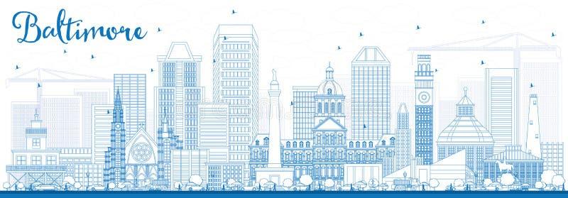 Entwurfs-Baltimore-Skyline mit blauen Gebäuden vektor abbildung