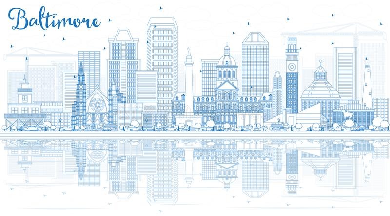 Entwurfs-Baltimore-Skyline mit blauen Gebäuden und Reflexionen stock abbildung