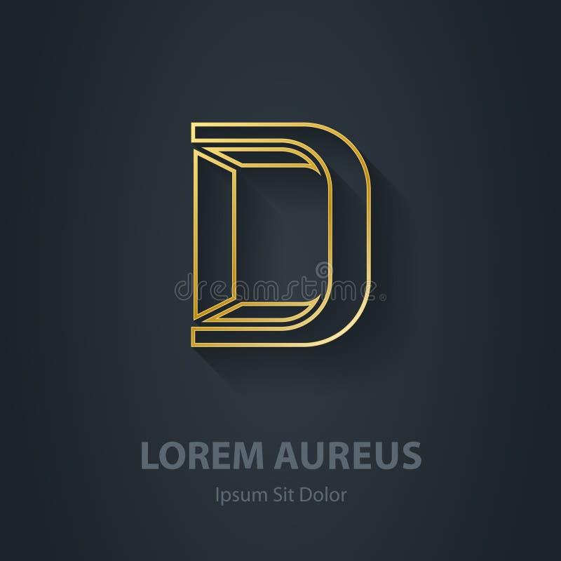 Entwurfs-Buchstabe D Eleganter Guss des Vektors Gold Schablone für Firma lizenzfreie abbildung