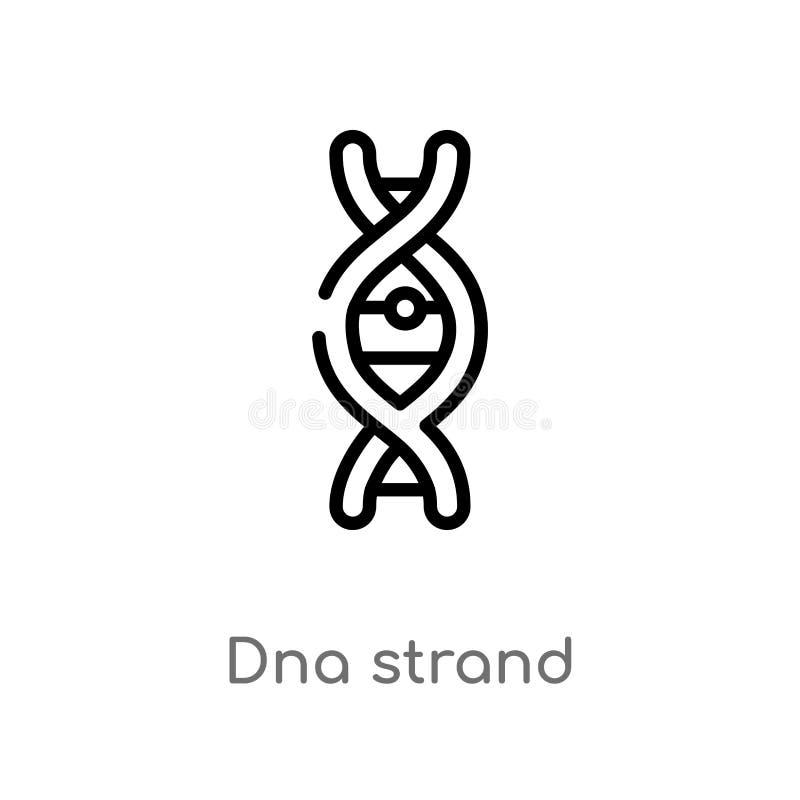 Entwurfs-DNA-Strangvektorikone lokalisiertes schwarzes einfaches Linienelementillustration vom Ausbildungskonzept editable Vektor stock abbildung