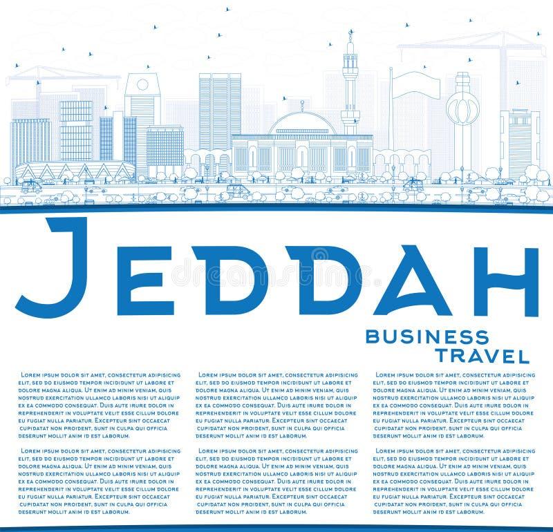 Entwurfs-Dschidda-Skyline mit blauen Gebäuden und Kopien-Raum stock abbildung