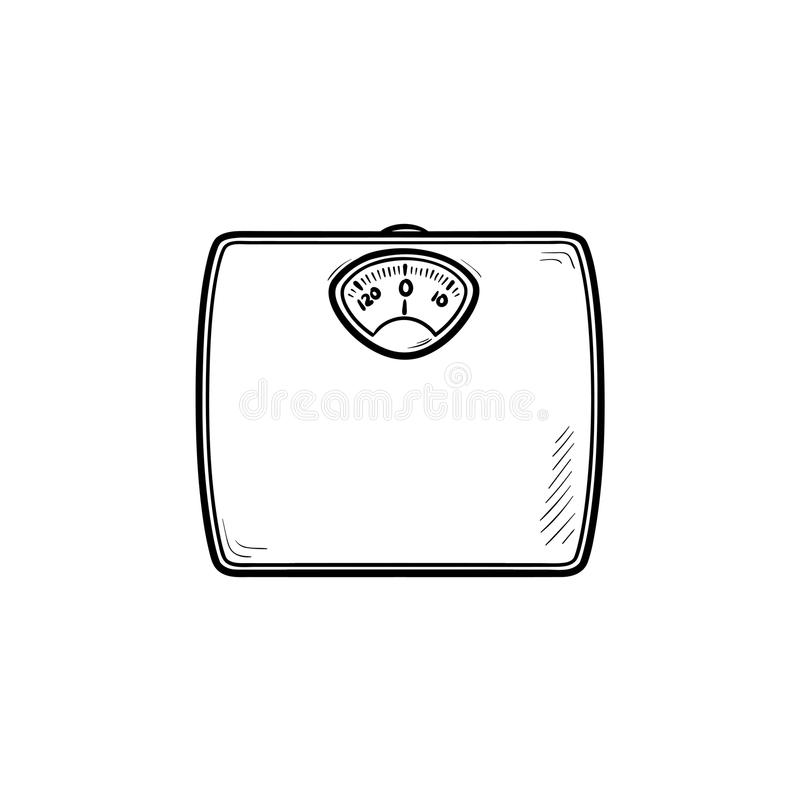 Entwurfs-Gekritzelikone der Gewichtsskala Hand gezeichnete stock abbildung