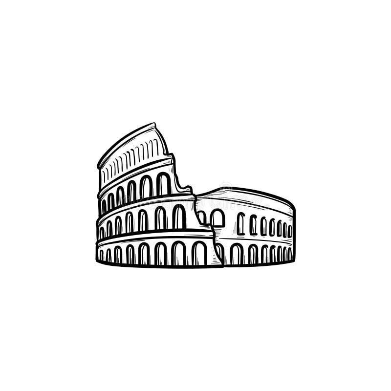Entwurfs-Gekritzelikone Rom-Kolosseums Hand gezeichnete stock abbildung