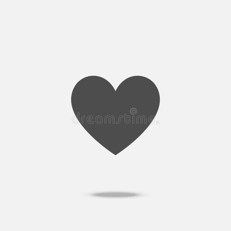 Entwurfs-Ikonenvektor des Herzens flacher mit Schatten lizenzfreie abbildung