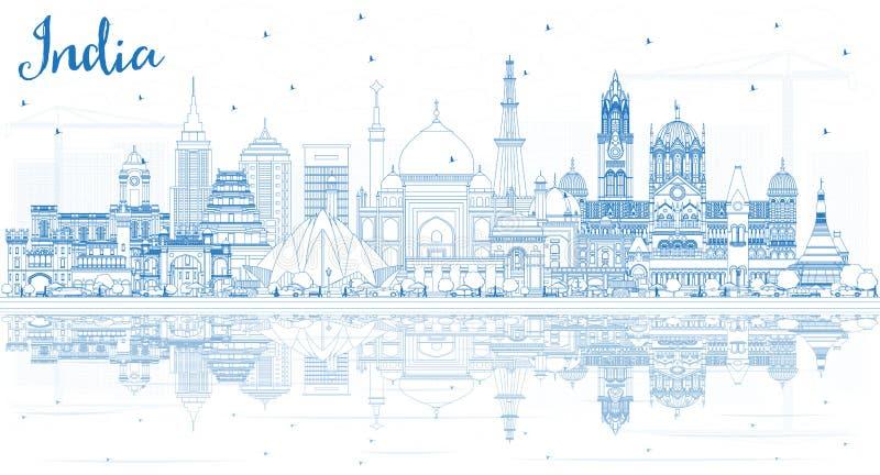 Entwurfs-Indien-Stadt-Skyline mit blauen Gebäuden lizenzfreie abbildung