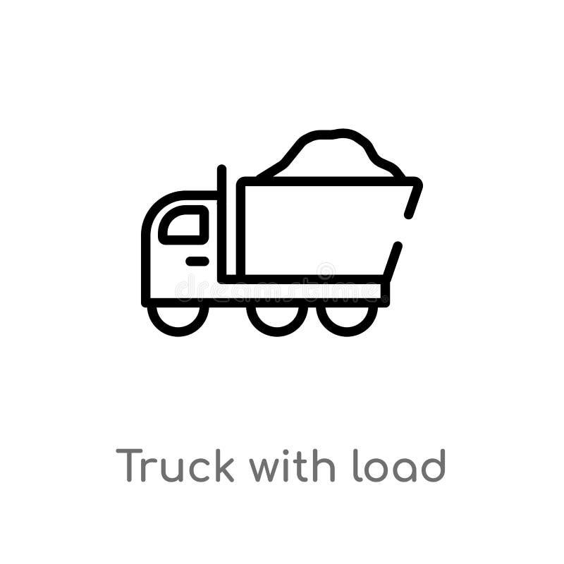 Entwurfs-LKW mit Lastsvektorikone lokalisiertes schwarzes einfaches Linienelementillustration vom Baukonzept Editable Vektor stock abbildung