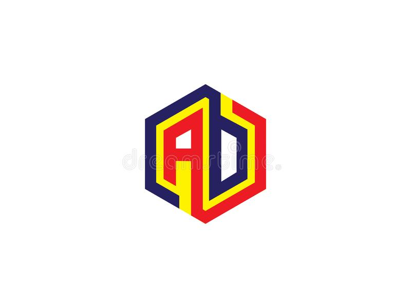 Entwurfs-Logo Vector Graphic Branding Letter-Element Hexagon des Anfangsbuchstaben AB lizenzfreie abbildung