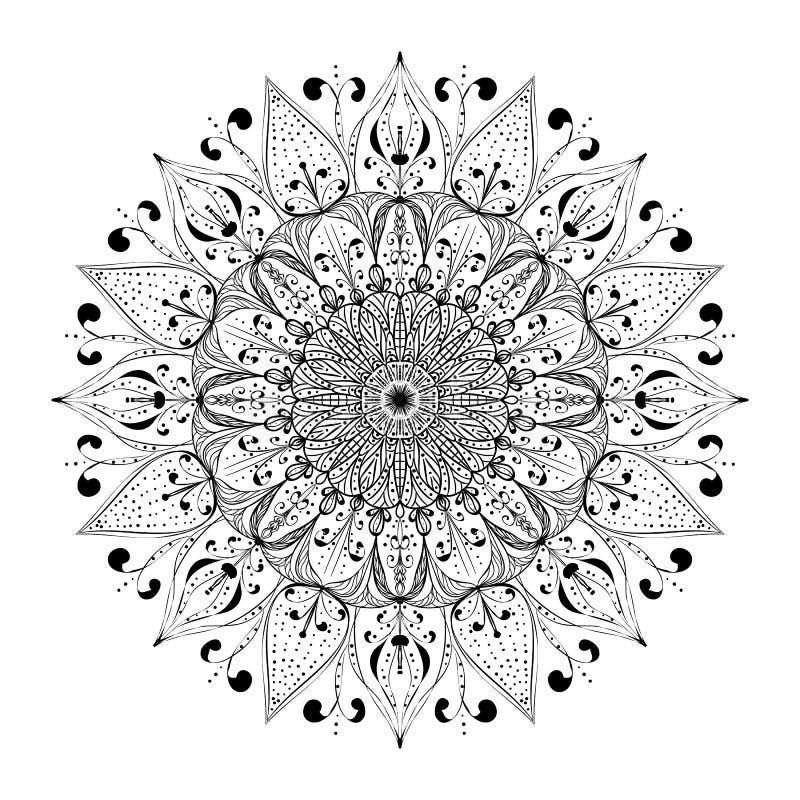 Entwurfs-Mandala für Malbuchseite Anti-Drucktherapie vect stock abbildung