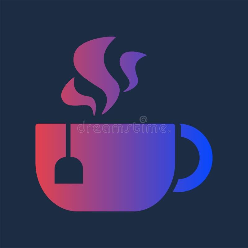 Entwurfs-Morgen-Aroma-heißes Getränk in der Schalen-Tee-Ikone lizenzfreie abbildung