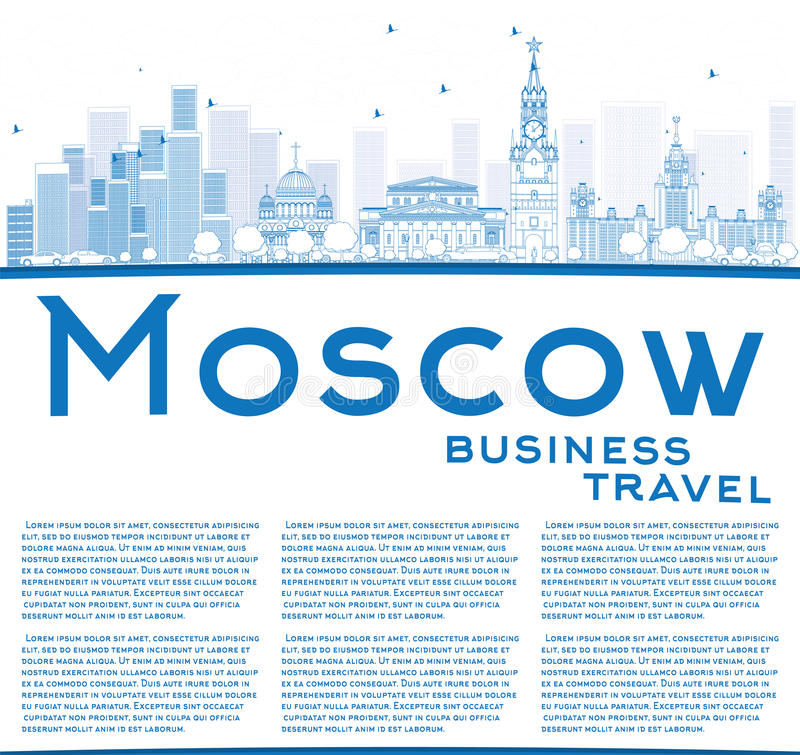 Entwurfs-Moskau-Skyline mit blauen Marksteinen und Kopien-Raum lizenzfreie abbildung