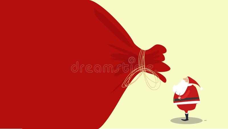Entwurfs-Schablone der Fahne mit Schattenbild von Santa Claus Watching ein Sandsack voll von den Geschenken Lustige Karikatur-Sze vektor abbildung