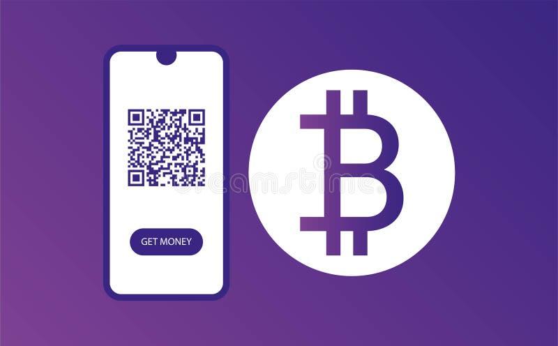 ENTWURFS-WEBSEITEN-SCHABLONE Scan jetzt und Geld erhalten bitkoin Entwurf Web-Fahne Design Farbschablone bargeld stock abbildung