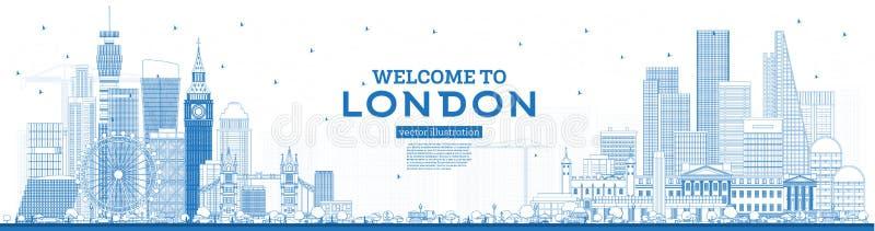 Entwurfs-Willkommen zu Skylinen Londons England mit blauen Gebäuden vektor abbildung