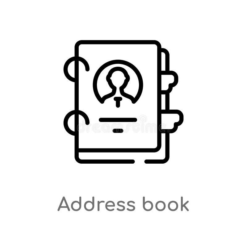 EntwurfsAdressbuch-Vektorikone lokalisiertes schwarzes einfaches Linienelementillustration vom Geschäftskonzept Editable Vektoran vektor abbildung