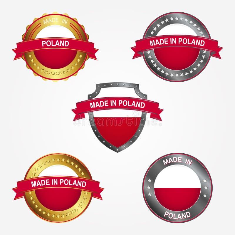 Entwurfsaufkleber von gemacht in Polen Auch im corel abgehobenen Betrag vektor abbildung