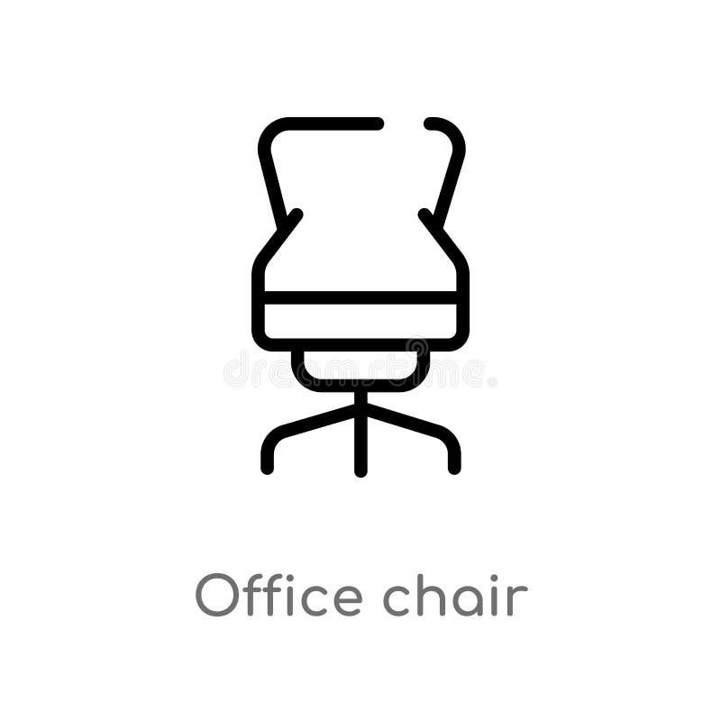 Entwurfsbürostuhl-Vektorikone lokalisiertes schwarzes einfaches Linienelementillustration vom M?bel- und Haushaltskonzept editabl stock abbildung