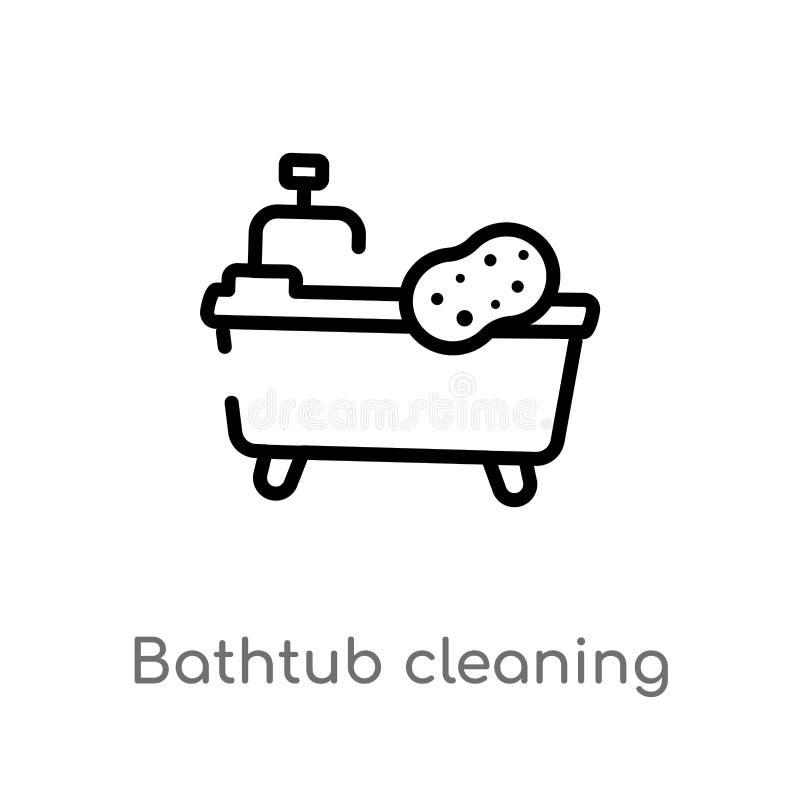 Entwurfsbadewannenreinigungs-Vektorikone lokalisiertes schwarzes einfaches Linienelementillustration von Reinigungskonzept Editab lizenzfreie abbildung