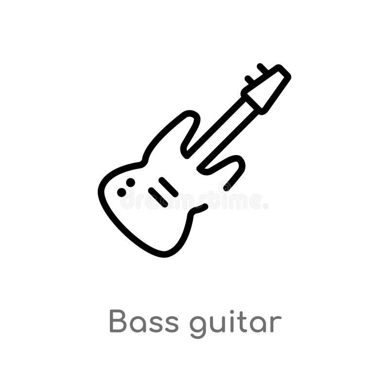 Entwurfsbass-Gitarren-Vektorikone lokalisiertes schwarzes einfaches Linienelementillustration vom Musikkonzept editable Vektorans lizenzfreie abbildung