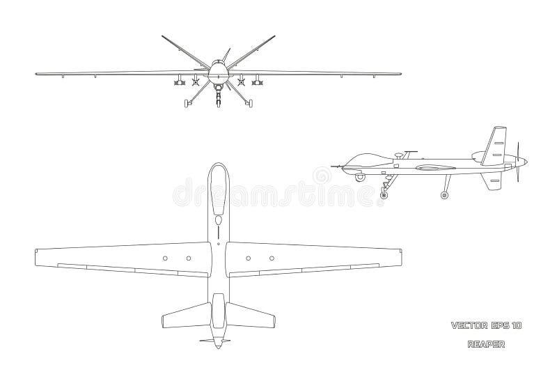 Entwurfsbild des Militärbrummens Spitzen-, vordere und Seitenansicht Armeeflugzeuge für Intelligenz und Angriff stock abbildung