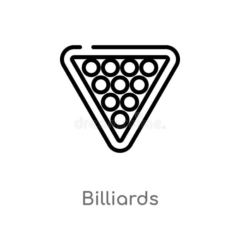 Entwurfsbillard-Vektorikone lokalisiertes schwarzes einfaches Linienelementillustration von der Unterhaltung und vom S?ulengangko vektor abbildung
