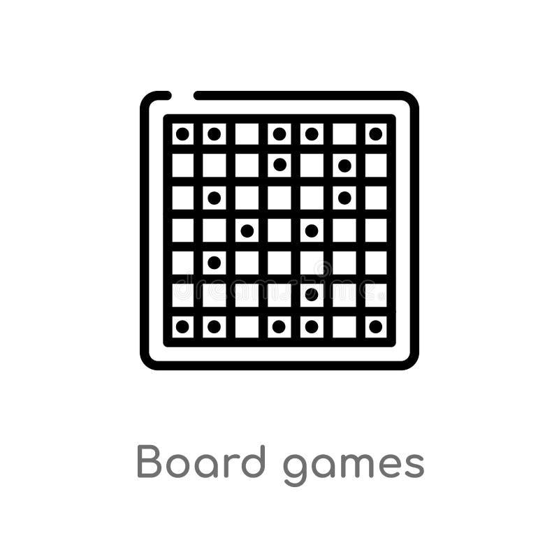 EntwurfsBrettspiel-Vektorikone lokalisiertes schwarzes einfaches Linienelementillustration von der Unterhaltung und vom S?ulengan vektor abbildung