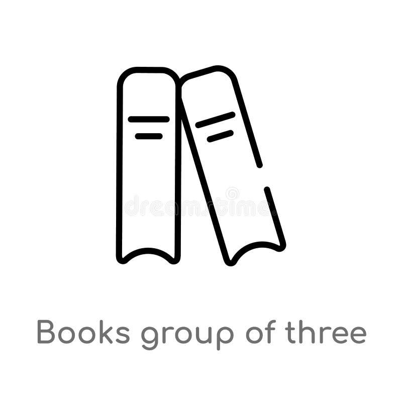 Entwurfsbuchgruppe von drei von der Seitenansichtvektorikone lokalisiertes schwarzes einfaches Linienelementillustration vom Ausb vektor abbildung