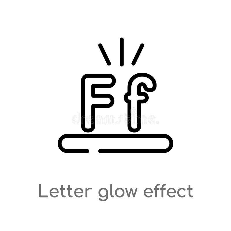 Entwurfsbuchstabeglüheneffekt-Vektorikone lokalisiertes schwarzes einfaches Linienelementillustration vom Formkonzept Editable Ve vektor abbildung