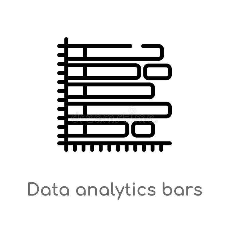 Entwurfsdaten Analytics-Balkendiagramm mit Nachkommelinie Vektorikone lokalisiertes schwarzes einfaches Linienelementillustration vektor abbildung