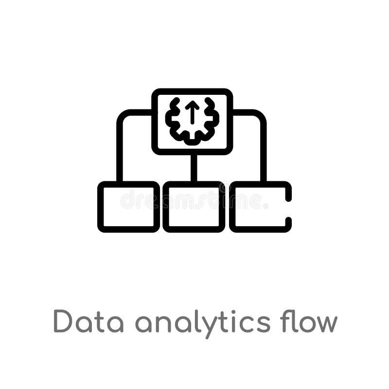 Entwurfsdaten Analytics-Flussdiagramm-Vektorikone lokalisiertes schwarzes einfaches Linienelementillustration vom Benutzerschnitt lizenzfreie abbildung