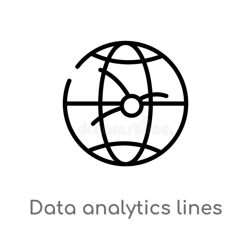 Entwurfsdaten Analyticslinien auf kugelf?rmiger Gittervektorikone lokalisiertes schwarzes einfaches Linienelementillustration von stock abbildung