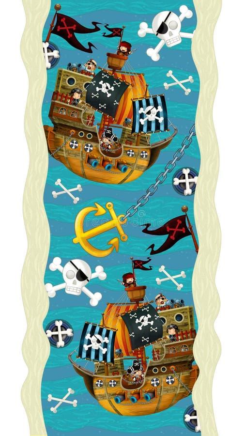 Entwurfsdekoration - mit Booten und Piraten - Tapete - Illustration für die Kinder lizenzfreie abbildung