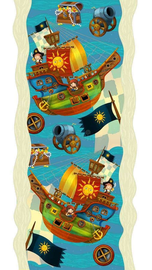 Entwurfsdekoration - mit Booten und Piraten - Tapete - Illustration für die Kinder vektor abbildung