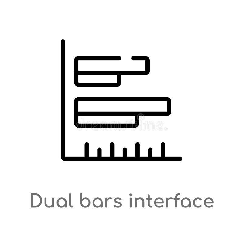Entwurfsdoppelstangen schließen Vektorikone an lokalisiertes schwarzes einfaches Linienelementillustration vom Benutzerschnittste lizenzfreie abbildung