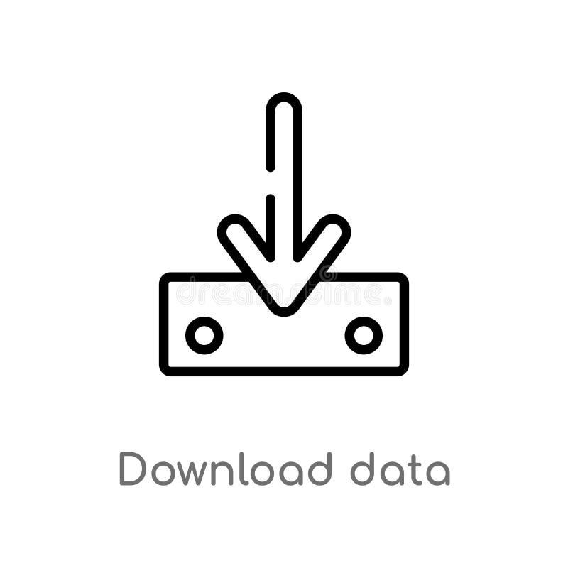 Entwurfsdownload-Arbeitsleisteikone lokalisiertes schwarzes einfaches Linienelementillustration vom Benutzerschnittstellenkonzept stock abbildung
